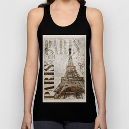 Vintage Paris eiffel tower illustration Unisex Tank Top