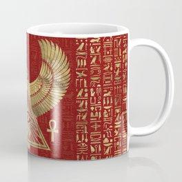 Eye of Horus - Wadjet Gold on Red Leather Coffee Mug