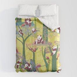 Both Species of Panda - Yellow Comforters