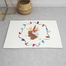 Magical unicorn horse with colorful light bulb frame Rug