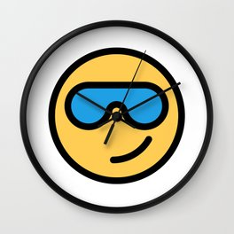 Smiley Face   Cool Sunglasses Happy Face   Cute Blue Glasses Wall Clock