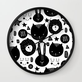 Black and White Animals Wall Clock