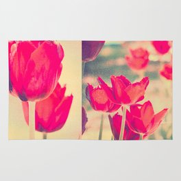 Red Tulips Diptych Rug