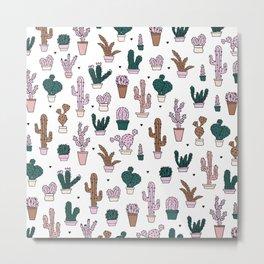 Green plant lady cactus home garden botanical cacti pink Metal Print