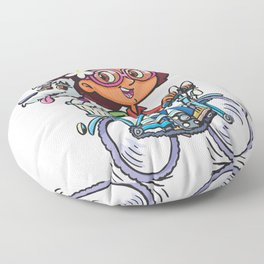 Girl on the bike with dog Floor Pillow