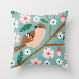 Cute sparrow in spring Throw Pillow