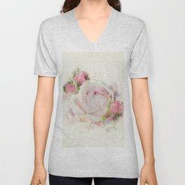 Watercolor Pink Rose Unisex V-Neck