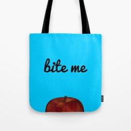 Bite Me - Blue Background Tote Bag