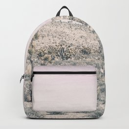 Mojave Pink Dusk // Desert Cactus Landscape Soft Cloudy Sky Mountain Scape Photograph Backpack