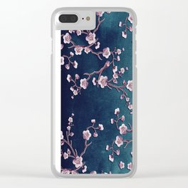 SAKURA LOVE  GRUNGE TEAL Clear iPhone Case