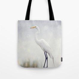 Great Egret perched in Florida wetlands Tote Bag