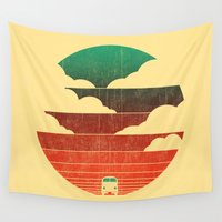 pencil Wall Tapestries featuring Go West by Picomodi