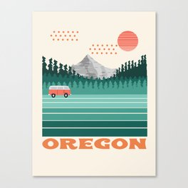 Oregon - retro throwback 70s vibes travel poster van life vacation mountains to sea Canvas Print
