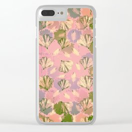 Mosaic Ginkgo (Peach and Pink) Clear iPhone Case