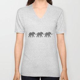 Three Elephants - Teal and White Chevron on Grey Unisex V-Neck