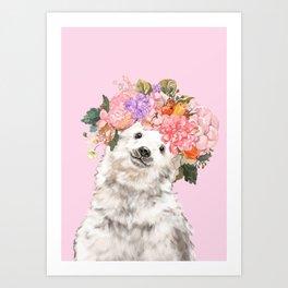 Baby Polar Bear with Flowers Crown Art Print