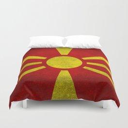 """Flag of Macedonia in """"Super Grunge"""" Duvet Cover"""