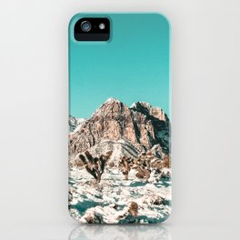 Vintage Lovers Cacti // Red Rock Canyon Mojave Nature Plants and Snow Desert in the Winter iPhone Case