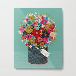 Flower Pot - Flowers for you, Floral, Vintage Retro Flower tin  Metal Print