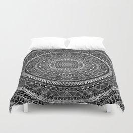 Zentangle Mandala Black and White Duvet Cover