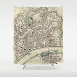 Vintage Map of Frankfurt Germany (1837) Shower Curtain