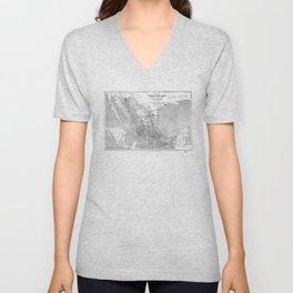 Vintage Mexico Railroad Map (1881) BW Unisex V-Neck