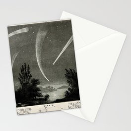 Comets in the Night Sky, including Halley's Comet (1835) and Donati's Comet (1858) Stationery Cards