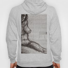 From (Vom) - Charcoal on Newspaper Figure Drawing Hoody