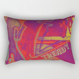 Cool TRENDY script graffiti style print in bold mauve purple, orange tangerine, yellow, teal and red Rectangular Pillow