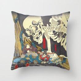 Takiyasha the Witch and the Skeleton Specter- Utagawa Kuniyoshi Throw Pillow