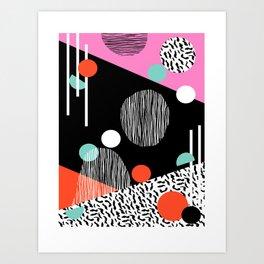 Mega Bulk - 80s style throwback retro pattern art memphis grid pattern minimalist 1980's Art Print