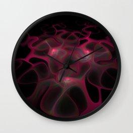Red Web on Black Wall Clock
