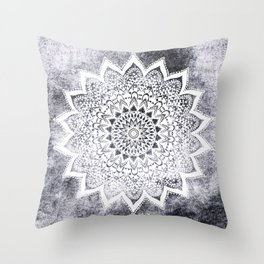 BOHO WHITE NIGHTS MANDALA Throw Pillow