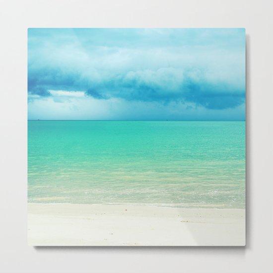 Blue Turquoise Tropical Sandy Beach Metal Print