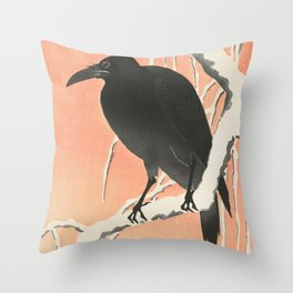 Crow in the winter - Vintage Japanese Woodblock Print Art Throw Pillow