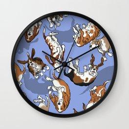 Raining Basset Hounds Wall Clock