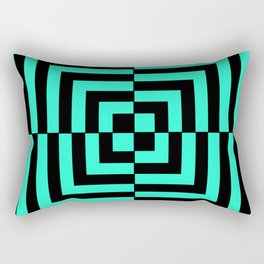 GRAPHIC GRID DIZZY SWIRL ABSTRACT DESIGN (BLACK AND GREEN AQUA) SERIES 5 OF 6 Rectangular Pillow