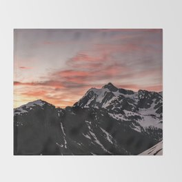 Pink Sky - Cascade Mountains - Nature Photography Throw Blanket
