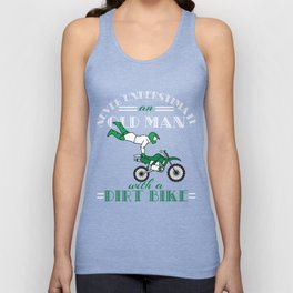 "A Cool Motocross Tee For Riders Saying ""Never Underestimate An Old Man With A Dirt Bike"" T-shirt Unisex Tank Top"