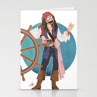 jack sparrow Stationery Cards featuring Captain Jack Sparrow by Lili's Damn Fine Shop
