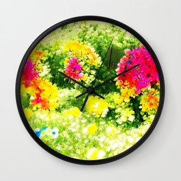 Bright Flowers Summer Wall Clock