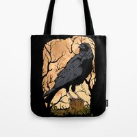 crow Tote Bags featuring Crow by Murat Sünger
