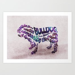 Bulldog Typography Art / Watercolor Painting Art Print