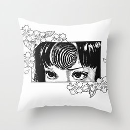 Junji Ito with cherry blossoms Throw Pillow