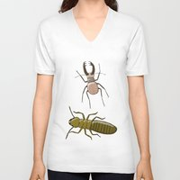 insects V-neck T-shirts featuring two insects doing nothing by Rob Million