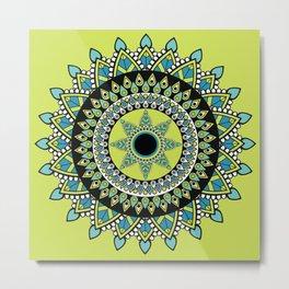 Green & Blue Decorated Indian Mandala Metal Print