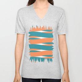 Blue Orange White Curves Unisex V-Neck