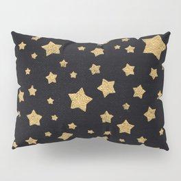 Gold Stars on BLack Pillow Sham