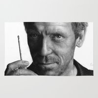 actor Area & Throw Rugs featuring Dr. House pencil drawing fanart by Thubakabra