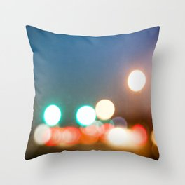 Blurry Lights in Montreal Throw Pillow